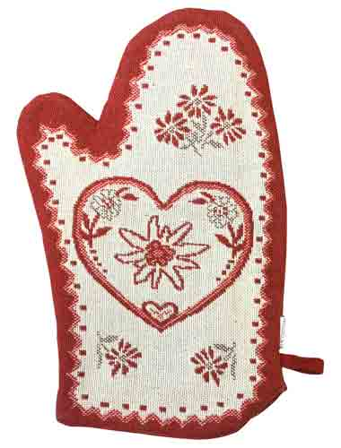 Red Oven Mitt with Swiss Accents
