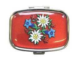 Pill Box - Red with Alpine Flowers
