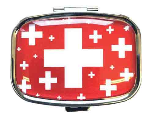 Pill Box - Red with Swiss Crosses