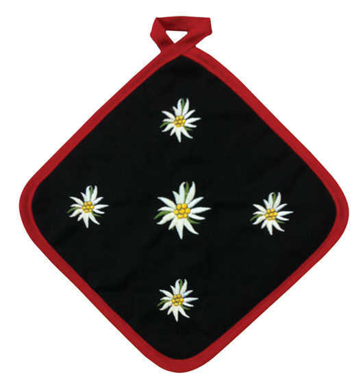Embroidered Edelweiss Design Pot Holder- Black