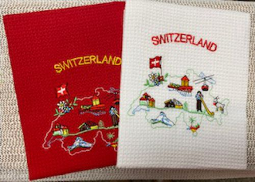 Embroidered Swiss Map Kitchen Towel