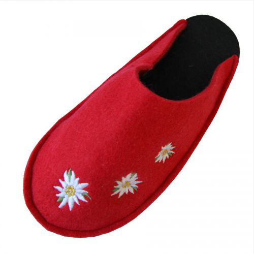 Felt Slippers - Red with Embroidered Edelweiss