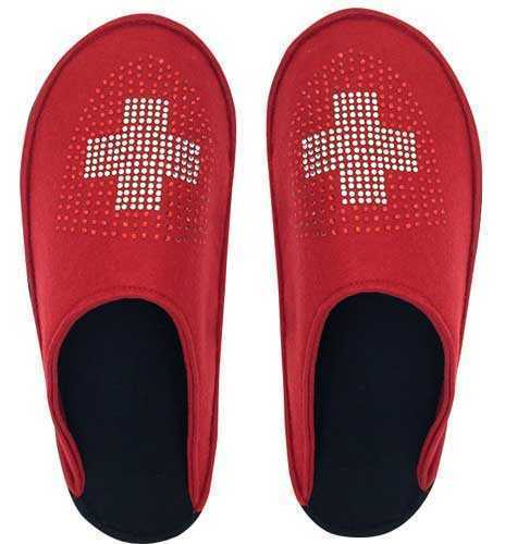 Felt Slippers, red with Swiss Accents