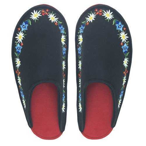 Felt Slippers, black with Embroidered Accents
