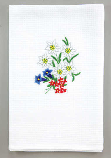 Kitchen Towel - Embroidered with Alpine Flowers