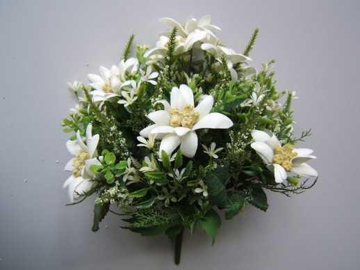 Artificial edelweiss bouquet decorations esthers european artificial edelweiss bouquet mightylinksfo