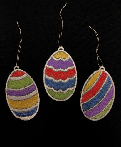 Embroidered Easter Egg Ornaments - Set of 3