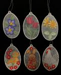 Embroidered Easter Egg Ornaments - Set of 6