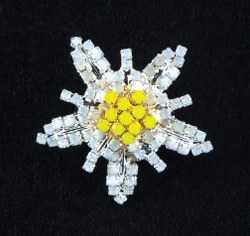 Gemstone Edelweiss Brooch
