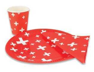 Red Paper Napkins - Swiss Crosses