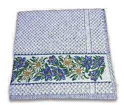 Blue Gingham Terry Towel with Alpine Flowers