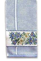 Blue Gingham Kitchen Towel with Alpine Flowers
