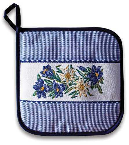 Blue Gingham Pot Holder with Alpine Flowers