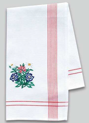Kitchen Towel with Embroidered Alpine Flowers - red border