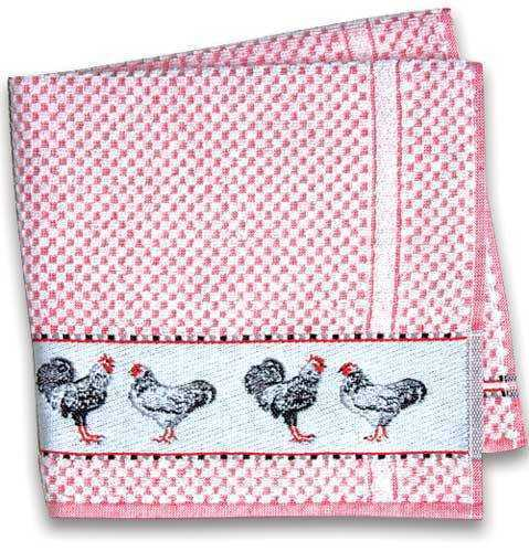 Red Terry Towel w/Chickens