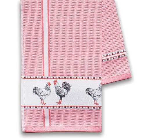 Red Kitchen Towel w/Chickens