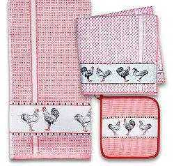 Red Chickens Towel and Pot Holder Set