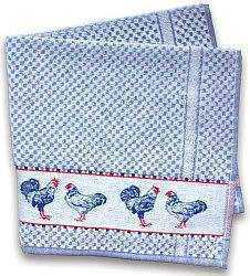Blue Terry Towel w/Chickens