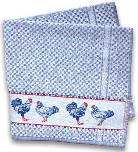 Blue Kitchen Terry Towel w/Chickens