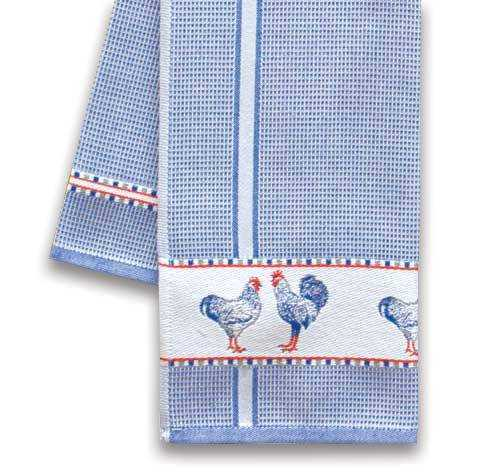 Blue Kitchen Towel w/Chickens