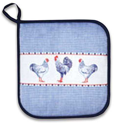 Blue Pot Holder w/Chickens