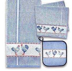 Blue Chickens Towel and Pot Holder Set