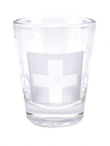 Etched  Swiss Cross  Shot Glass