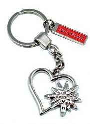 Metalic Heart & Edelweiss Key Chain