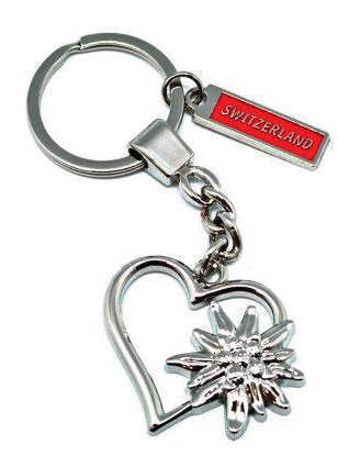 Metalic Heart and Edelweiss Key Chain
