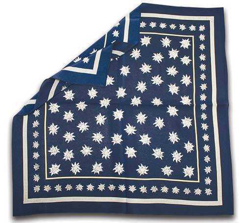 Silk Scarf with Edelweiss Design - Navy Blue