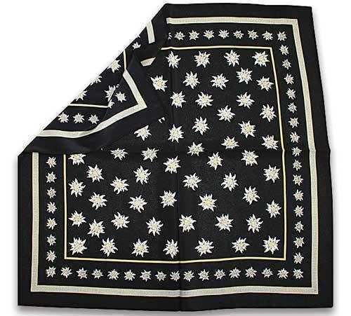 Silk Scarf with Edelweiss Design - Black