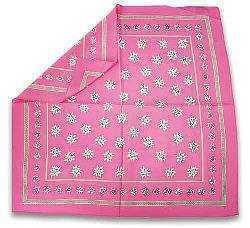 Silk Scarf with Edelweiss Design - Pink