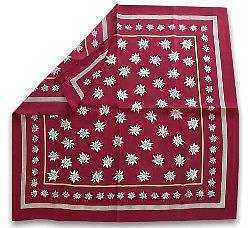 Silk Scarf with Edelweiss Design - Burgundy