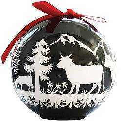 Alpine Scene Christmas Ball ornament - black with LED lights