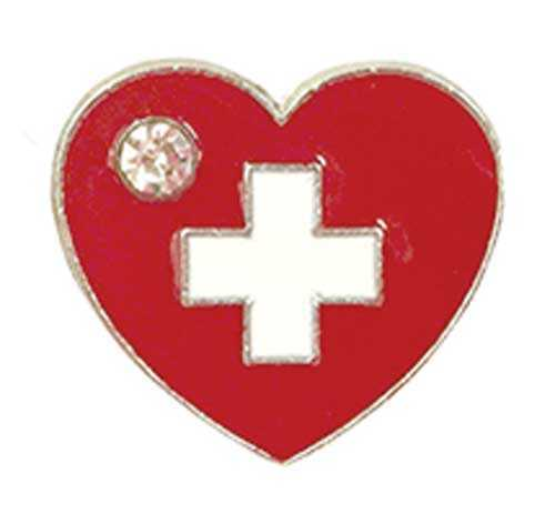 Heart with Swiss Cross and Crystal Stone Pin