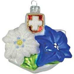 Edelweiss Enzian and Swiss Cross Ornament