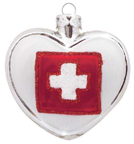 Swiss Cross on Silver Heart Christmas Ornament