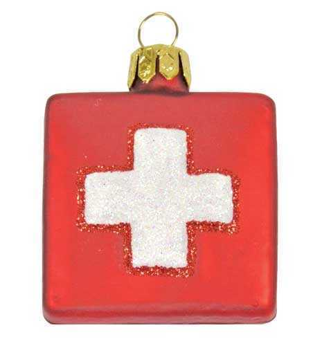 Swiss Cross Christmas Ornament
