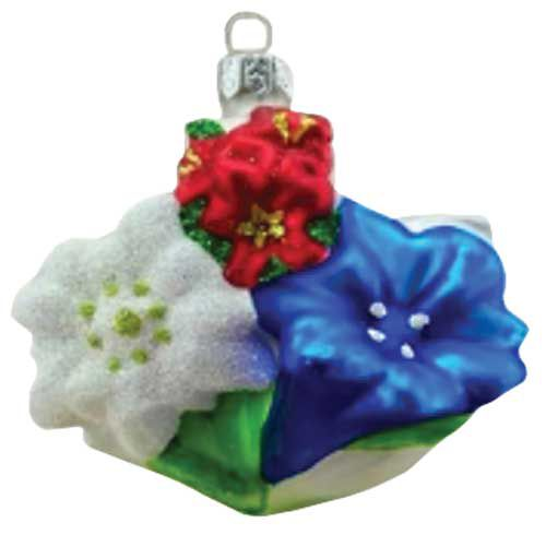 Alpine Rose, Edelweiss, Enzian Christmas Ornament