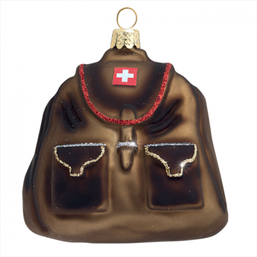Swiss Backpack Glass Ornament with Swiss Flag