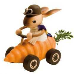 Bunny Rabbit Riding in Carrot Car Wooden Easter Figurine