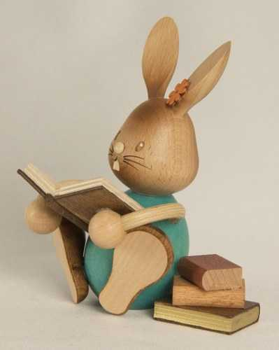 Easter Bunny Rabbit Reading a Book, Wooden Figurine