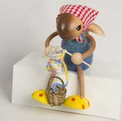 Knitting Easter Rabbit German Wooden Figurine