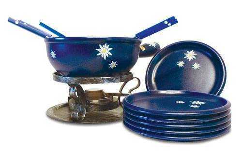 Blue Edelweiss Cheese Fondue Set