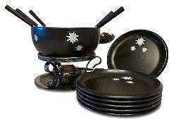 Black Edelweiss Cheese Fondue Set