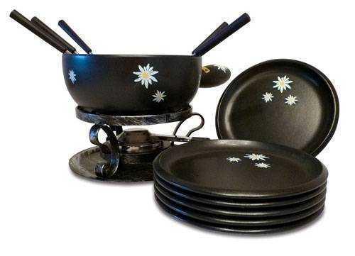 black edelweiss cheese fondue set