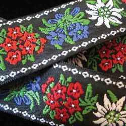 Embroidered Ribbon with Edelweiss and Alpine Flowers