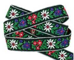 Embroidered Ribbon with Flowers - Black