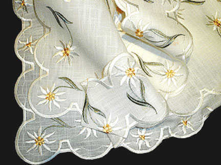Embroidered Edelweiss Flower Table Ribbon