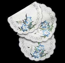 Embroidered Enzian & Edelweiss Flower oval Doily